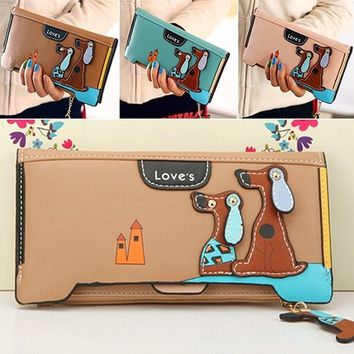 Women Long Faux Leather Dog Pendent Wallet Double Zip Hasp Purse Card Holder Bag