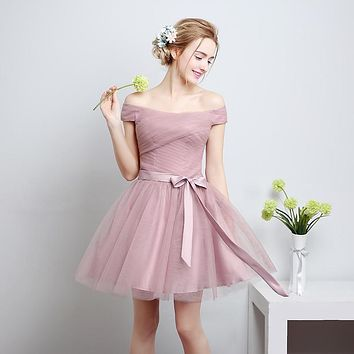 Strapless A Line CrissCross Cameo Brown Bow Sash Short Draped Tiered Lace Up Bridesmaid Dress Vestidos de Verao C70LF801C