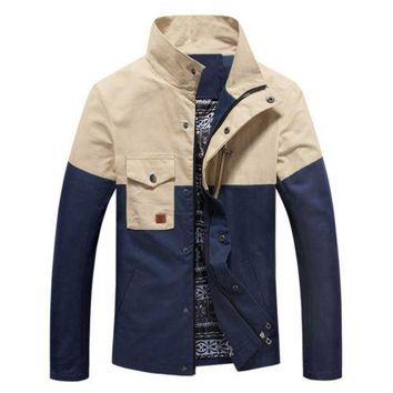 Slim Man Cloth Jacket Coat Motley Pocket Business   blue