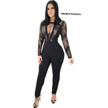 a79c7650afff Best Black Sheer Jumpsuit Products on Wanelo