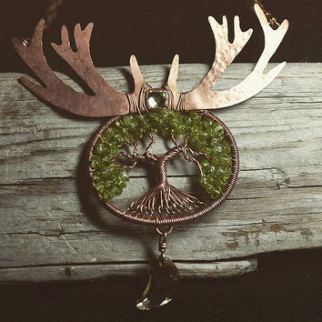Deer Antler Tree of Life Peridot Tree of Life Pendant Bare Copper Bezel Set Swarovski Artemis Necklace Moon Goddess Tree of Life