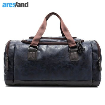 Men's PU Leather Sports Bag Duffel Tote Handbags Travel Bag for Gym Fitness Male Bag Man Women Camping Brown Black Coffee Blue