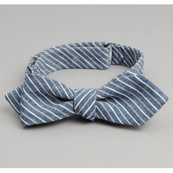 Double Stripe Chambray Bow Tie, Indigo