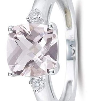 CERTIFIED 2.05 Cts Diamond & Cush Check Morganite Ring in 14KW Gold