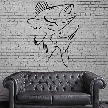 FISH & HUNT SEA BASS OCEAN MARINE DECOR Wall MURAL Vinyl Art Sticker M206