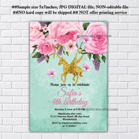 Unicorn invites, Birthday Invitation, gold unicorn girl birthday party for any age 1st 2nd 3rd 4th 5th 6th 7th 8th 9th 10th- card 1159
