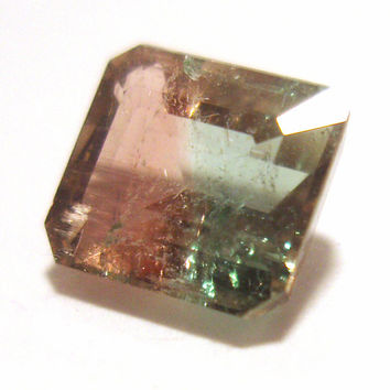 Watermelon Tourmaline Emerald Cut Gem Stone - .90 Carats - Perfect for a Ring - AMAZING Banding