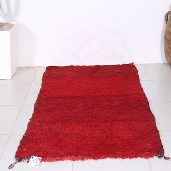 Solid Moroccan rug, wool rug, 2.9ft x 5.2ft
