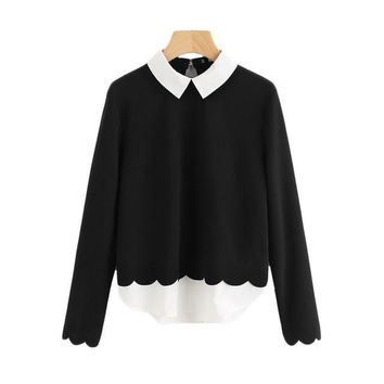 Contrast Collar & Hem Scalloped Long Sleeved Color Blocked Women Blouses