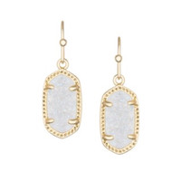 Kendra Scott Lee Gold Earrings In Iridescent Drusy