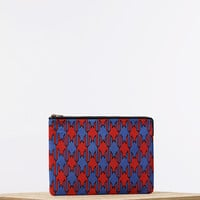 Solo Clutch Pouch in Jacquard Polyamide and Smooth Lambskin