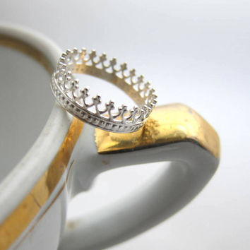 Tea time silver crown ring by lunaticart