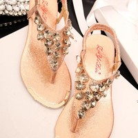 Heart Shape Rhinestone Flat Sandals 060515