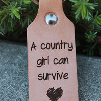 Country Girls Survive Leather Keychain
