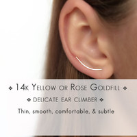 14k Gold Filled Ear Climbers - Gold Bar Earrings - Gold Ear Climbers - Gold Climber Earrings - Minimal Earrings - Gift for Her
