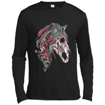 Cute Sugar Skull Horse  Day of the Dead  Long Sleeve Moisture Absorbing Shirt