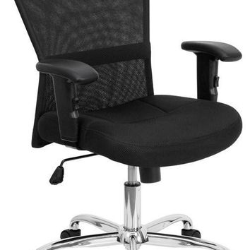 Mid-Back Black Mesh Contemporary Swivel Task Chair with Chrome Base and Height Adjustable Arms