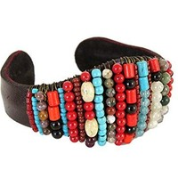 Multi Color Stone Beaded Bracelet Leather Jewelry for Women Boho Fashion Accessories
