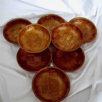 Eight Vintage Woven Wood Salad Bowls