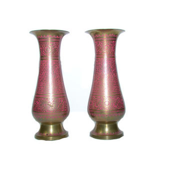 Vintage Etched Brass Vase Pink Boho Vases Pink and Brass Brass Pink Boho Vase Vase Set of 2 Vases
