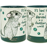 Chinchilla Diamond Mug by Pithitude - One Single 11oz. Green Coffee Cup