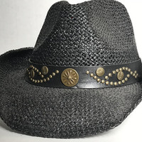 Vtg Black Cowboy Hat with Studded Leather Hat Band / Unisex Country Western Hat / Cowgirl Hat with Gold Stud Headband / Shapeable Wire Brim