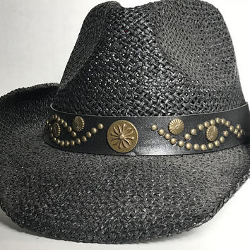 2af12078b22 Vtg Black Cowboy Hat with Studded Leather Hat Band   Unisex Coun