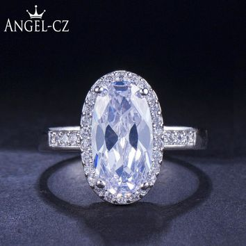 ANGELCZ Royal Wedding Band Eternity Ring for Women AAA Cubic Zirconia 925 Sterling Silver Engagement Rings Bridal Jewelry AR044