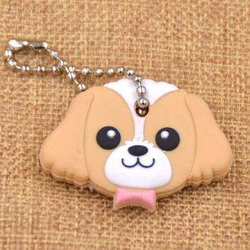 Cute Tan Dog Soft Rubber Key Cap/Cover Keychain