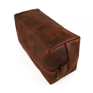 Heavy Dopp kit, Rustic Brown, Toiletry bag, Travel case, Men Leather case, Dopp kit, Groom Gift, Travel men, Groomsman, Razor