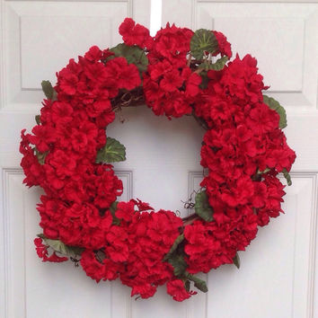 Geranium wreaths front door wreaths silk flower wreaths wreaths for door silk geranium wreaths red flower wreaths home decoration gifts
