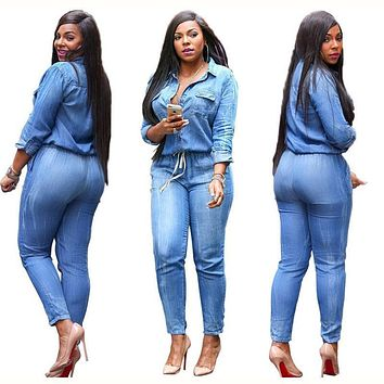 2017 spring New Fashion Women Long Sleeve Jeans Jumpsuit Handsome Deep V With Botton Rompers Full length Overalls Lady Plus Size
