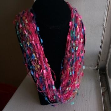 """Pink Yarn Magnetic Clasp Necklace 12"""""""