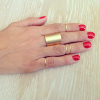 Knuckle Rings, Set of 4 Knuckle Rings and 1 Large Tube Ring, Statement Ring, Midi Rings, silver ring