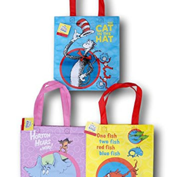 Dr. Seuss 3 Tote Set - Cat in the Hat, Horton Hears a Who, and One Fish Two Fish