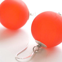 Large Matte Red Glass Earrings