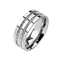 Titan - Double twisted inlaid rope band solid titanium men's ring