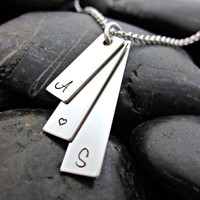 Couple's Necklace - Stainless Steel Stacked Bars with Initials