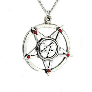 ac spbest Inverted Pentagram Necklace with Red Stone Evil Pendant Jewelry