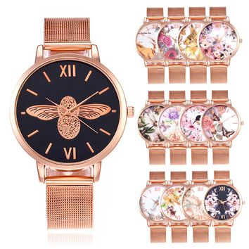 FLORAL & FRIENDS METAL MESH BAND WATCH