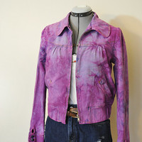 "Violet Small Denim JACKET - Fuchsia Purple Hand Dyed Upcycled Rue 21 Jeans Denim Trucker Jacket - Womens Size Small (38"" chest)"