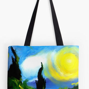 ON SALE Fine art Tote Bag landscape summer fields van gough nature trees abstract impressionist double sided print