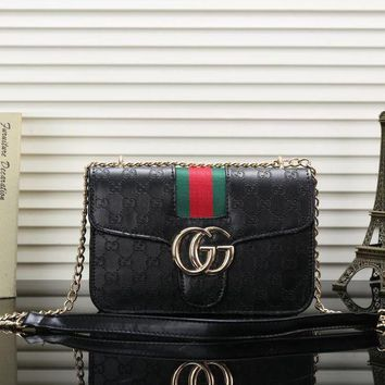 GUCCI trend female embossed double Glogo chain bag Messenger bag