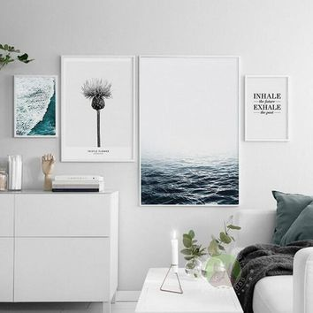 Sea Beach Landscape Minimalist Art Poster Print Motivational Quote Wall Picture Nordic Canvas Painting Home Decor