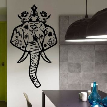 Wall Decal Vinyl Sticker Decals Art Home Decor Murals Indian Elephant Floral Patterns Mandala Tribal Buddha Om Ganesh Bathroom Bedroom Dorm Decals U305