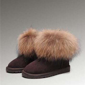 UGG Fox Fur Mini Boots 5854 Chocolate