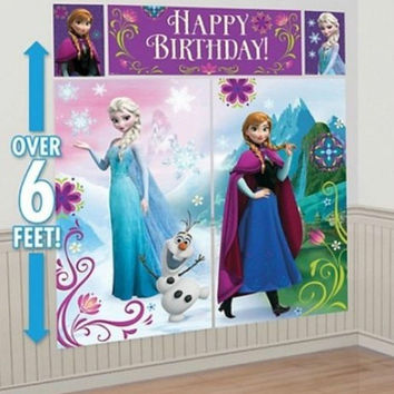 FROZEN Princesses Scene Setter Birthday Wall Banner Decorating Kit Party Supply