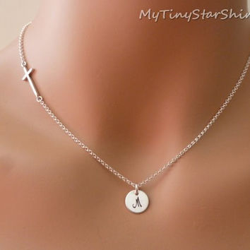 Silver Sideways Cross Necklace side cross sideways Initial necklace Sterling silver Necklace Kelly Ripa sideways cross necklace