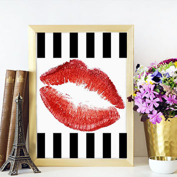 Gift For Her,Girl Room Decor,Fashion Print,Wall Art,Red Lips Digital Art,Printable Art,Wall Art,RED LIPS,Watercolor Lips,Makeup Print