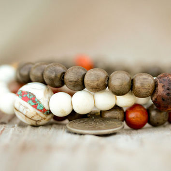 MALE Mala Inspired Stack Bracelets with Vintage Nepalese Coin, Vintage Conch Shell Bead, Bodhi Seed, Om Mani Padme Hum Bead